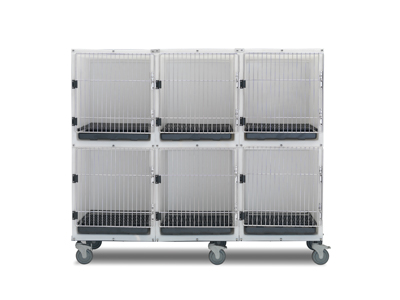 6 Unit Plastic Cage Assembly with Floors and Pans