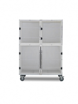 3 Unit Plastic Cage Assembly with Floors and Pans