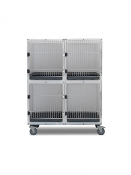 4 Unit Plastic Cage Assembly with Floors and Pans